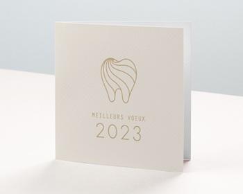 Carte de Voeux Professionnelle Dent dorée, sourire de l'année