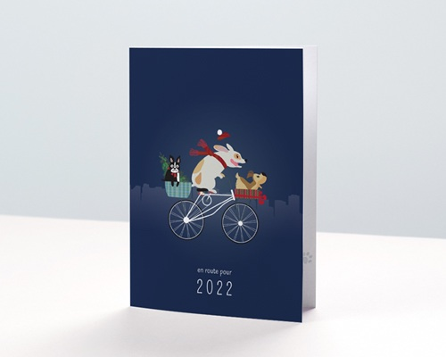 Carte de Voeux Entreprise Humour Vétérinaire, Animaux Noel, Original