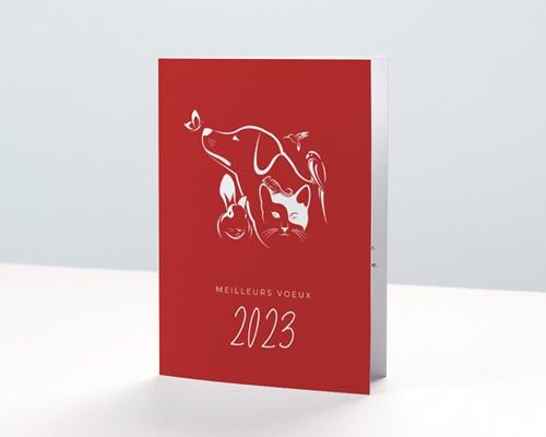 Carte de Voeux Entreprise Animalerie, Animaux NAC, Fond rouge