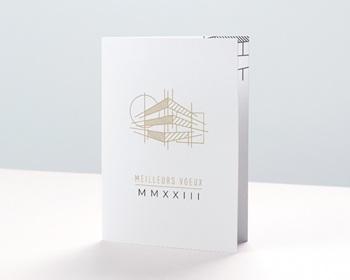 Carte de Voeux Entreprise Perspective dorée, Cabinet d'Architectes personnalisable