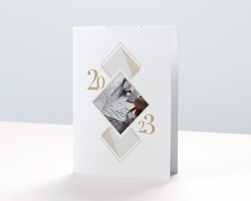 Carte de Voeux Entreprise Losanges Graphiques, Liseré doré, Photo