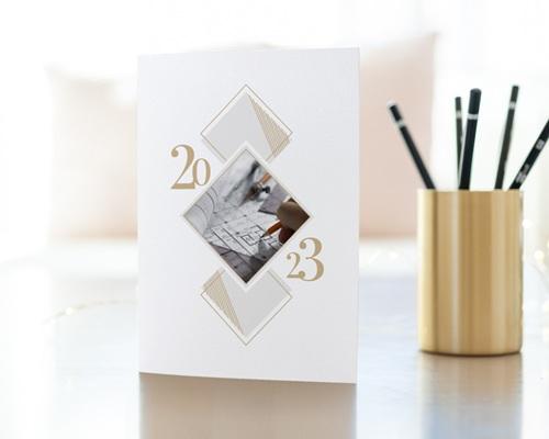 Carte de Voeux Entreprise Losanges Graphiques, Liseré doré, Photo gratuit