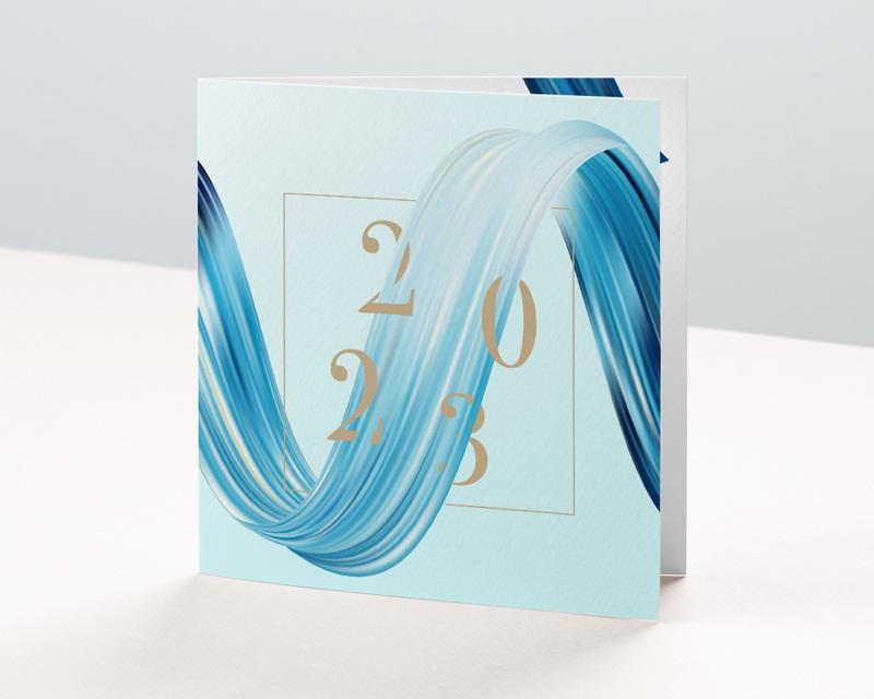 Carte de Voeux Entreprise Eau vive, Vague bleue, Carré or