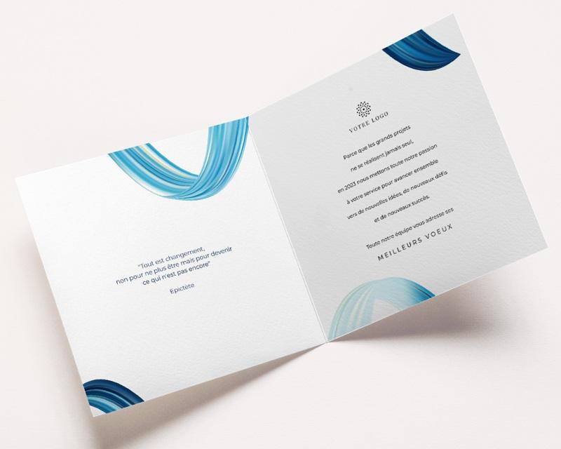 Carte de Voeux Entreprise Eau vive, Vague bleue, Carré or pas cher