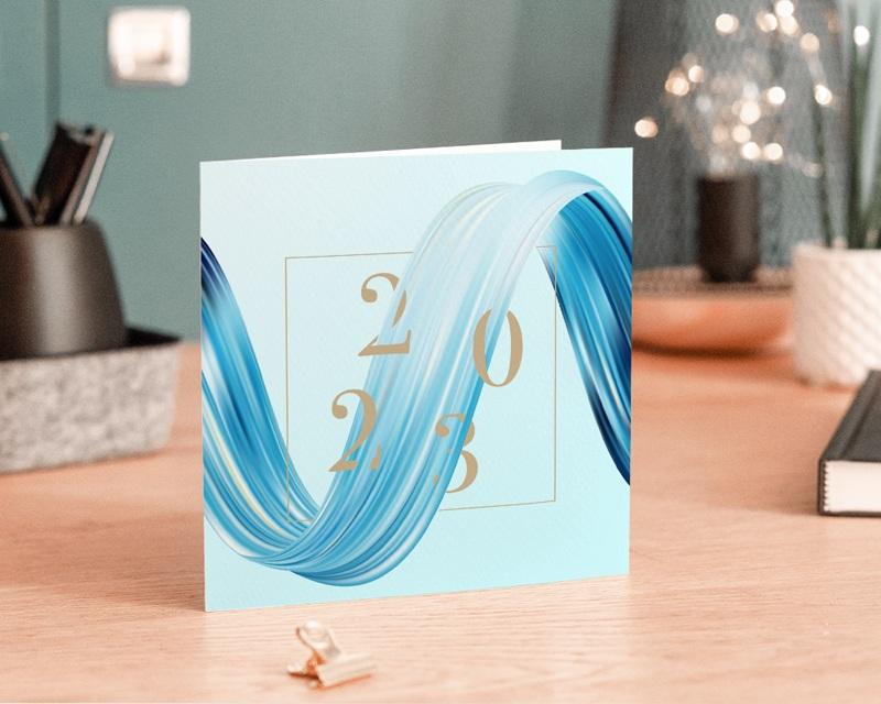 Carte de Voeux Entreprise Eau vive, Vague bleue, Carré or gratuit