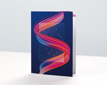 Carte de Voeux Pro Ruban multicolore, vernis 3D