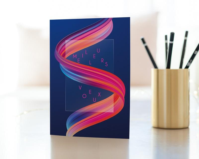 Carte de Voeux Entreprise Ruban multicolore, vernis 3D gratuit