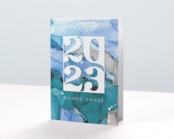 Carte de Voeux Professionnelle 2021 Aquarelle, Eaux cristallines, Glacier