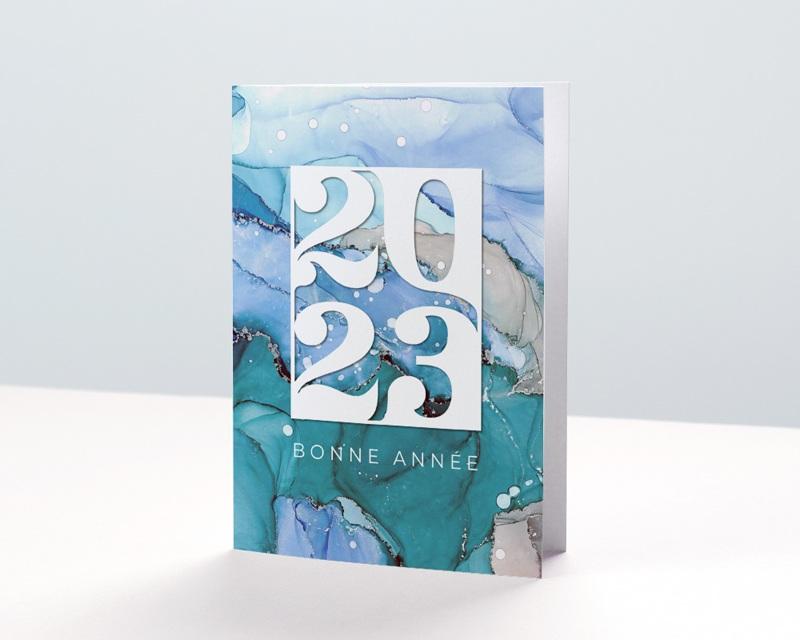 Carte de Voeux Entreprise Aquarelle, Eaux cristallines, Glacier