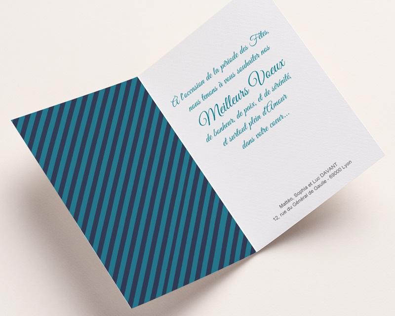 Carte de vœux particulier Noël bleu 2 pas cher
