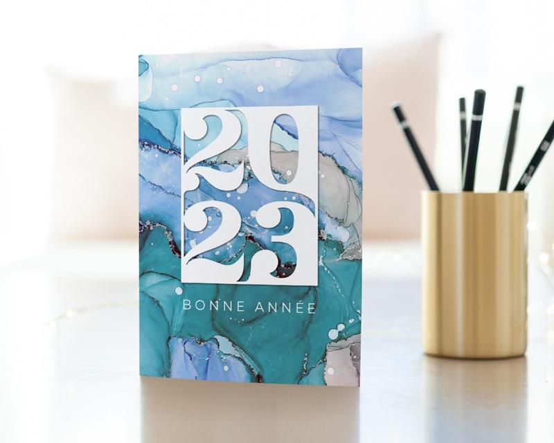 Carte de Voeux Entreprise Aquarelle, Eaux cristallines, Glacier gratuit
