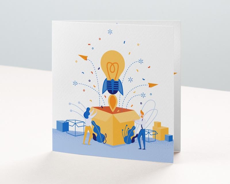 Carte de Voeux Entreprise Idées Créatives, Boite à Idées, Fusée