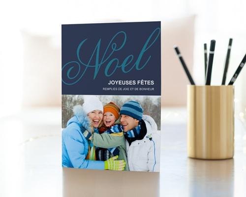 Carte de vœux particulier Noël bleu 2 gratuit