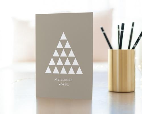 Carte de Voeux Entreprise Sapin, Triangles colorisables gratuit