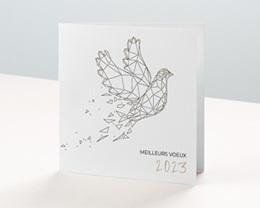 Carte de Voeux Entreprise Columbinae, colombe 3D, dorure