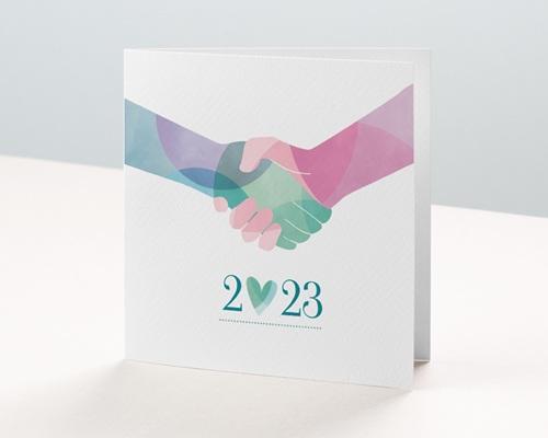Carte de Voeux Entreprise Alliance Solidaire, Fraternité, Pastel