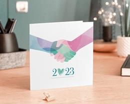 Carte de Voeux Entreprise Alliance Solidaire, Fraternité, Pastel gratuit