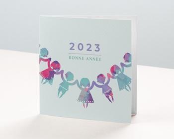 Carte de Voeux Entreprise Farandole Solidaire, ronde enfants personnalisable