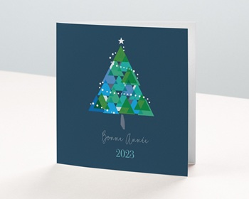 Carte de Voeux Entreprise 2021 Noël, Sapin géométrique