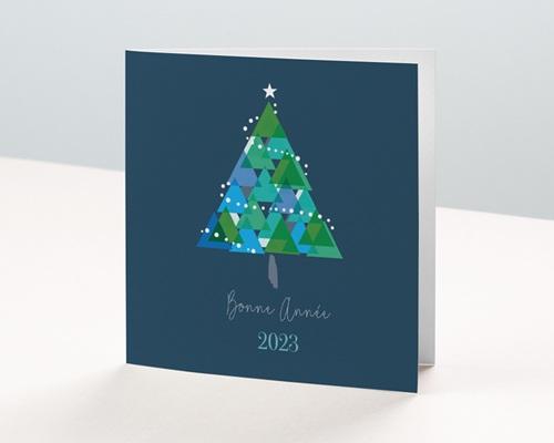 Carte de Voeux Entreprise Noël, Sapin géométrique
