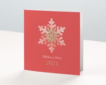 Carte de Voeux Entreprise Noël Corail, Flocons, Dorure personnalisable