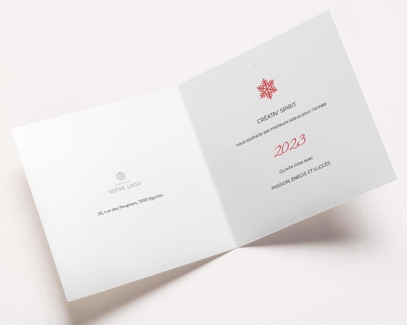 Carte de Voeux Entreprise Noël Corail, Flocons, Dorure pas cher