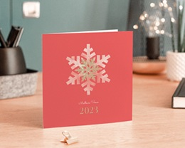 Carte de Voeux Entreprise Noël Corail, Flocons, Dorure gratuit