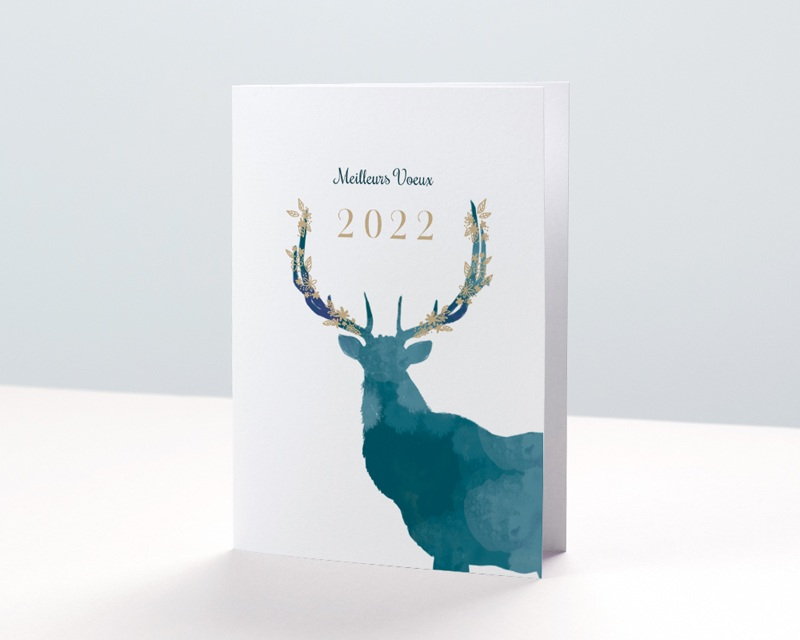 Carte de Voeux Entreprise Cerf de Noël, Photos, Dorure