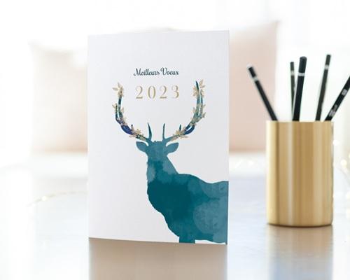Carte de Voeux Entreprise Cerf de Noël, Photos, Dorure gratuit