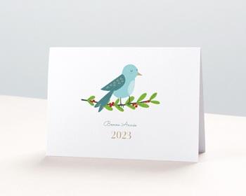 Carte de Voeux Professionnelle Oiseau de Noel, Houx, Dorure
