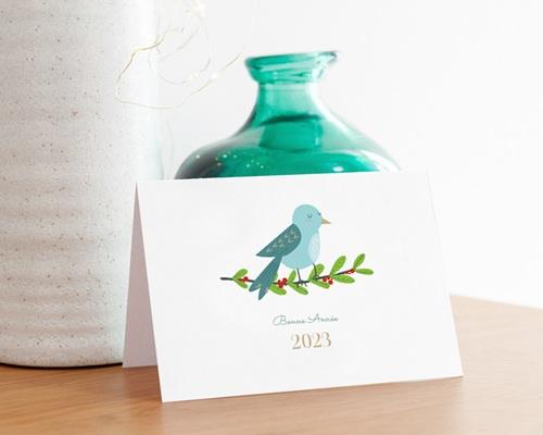 Carte de Voeux Entreprise Oiseau de Noel, Houx, Dorure gratuit
