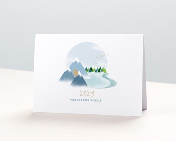 Carte de Voeux Entreprise Au sommet, Montagnes, Dorure