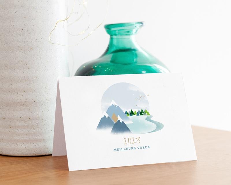Carte de voeux avec logo d'entreprise Au sommet, Montagnes, Dorure gratuit