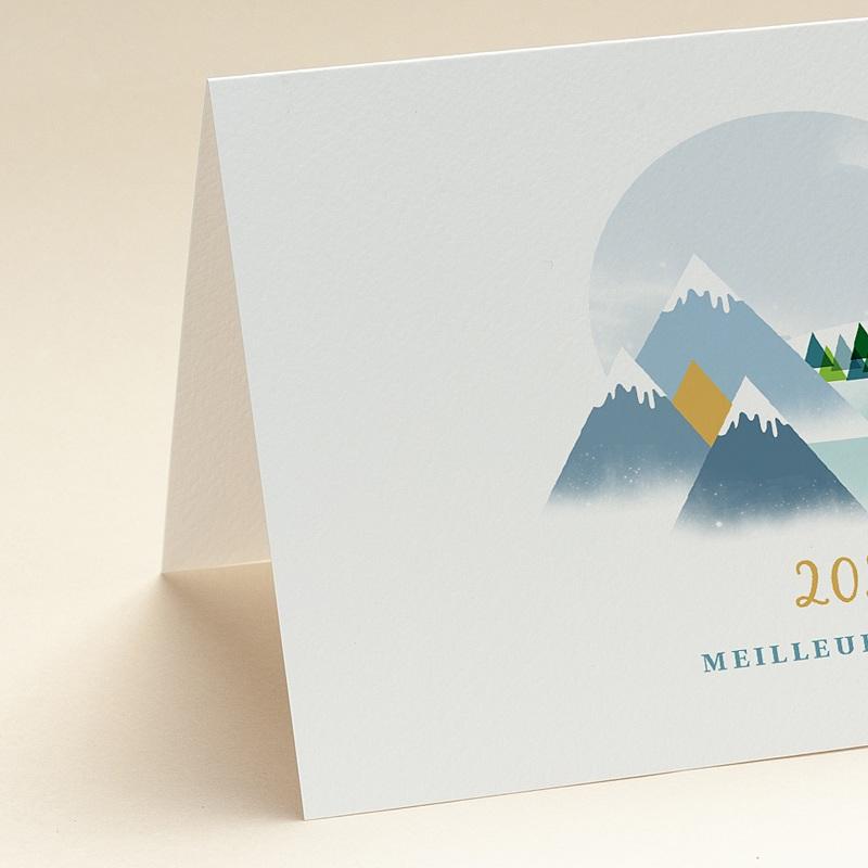 Carte de voeux avec logo d'entreprise Au sommet, Montagnes, Dorure
