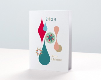 Carte de Voeux Entreprise 2021 Boules de Noël, Gouttes Colorées, Dorure