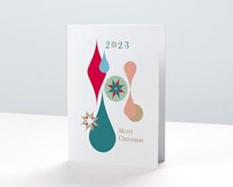Carte de Voeux Entreprise Boules de Noël, Gouttes Colorées, Dorure