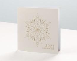 Carte de Voeux Entreprise Etoile de Noël dorée, carré double