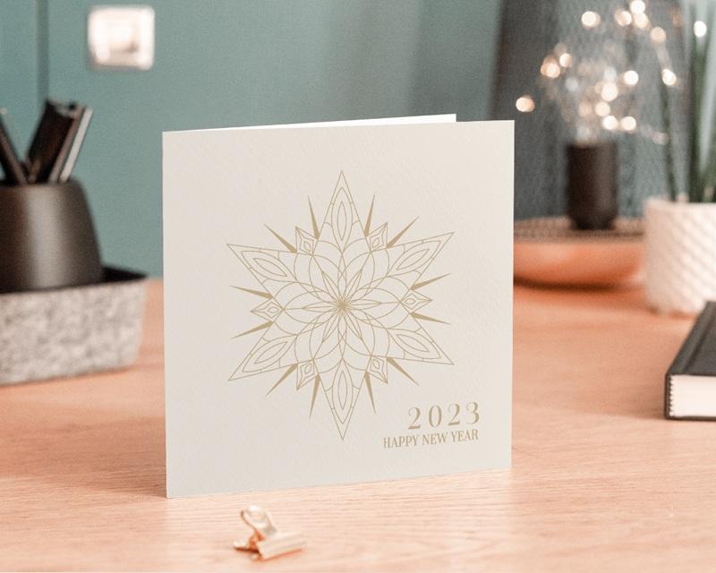 Carte de Voeux Entreprise Etoile de Noël dorée, carré double gratuit
