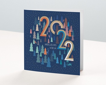 Carte de Voeux Entreprise 2021 Sapins Colorés, Rennes Bleus, dorure