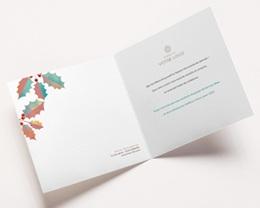 Carte de Voeux Entreprise Feuilles de Houx colorées, Voeux dorés pas cher
