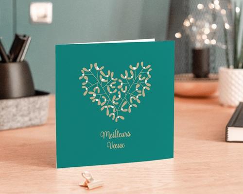Carte de Voeux Entreprise Coeur de houx, Dorure de Noël gratuit