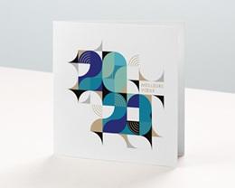 Carte de Voeux Entreprise Bauhaus Bleu, Art Moderne, dorure