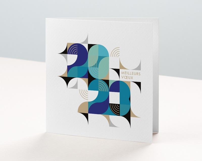 Carte de voeux avec logo d'entreprise Bauhaus Bleu, Art Moderne, dorure