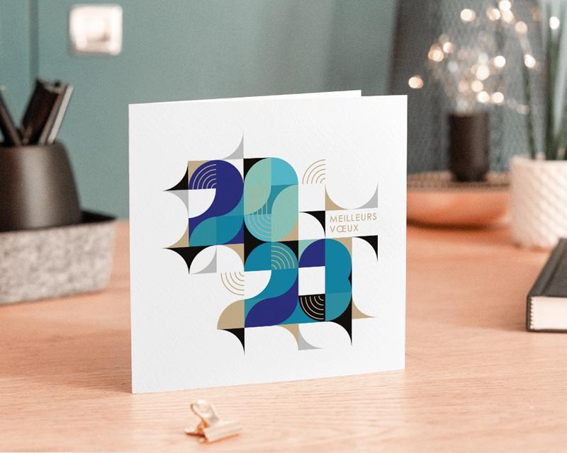 Carte de voeux avec logo d'entreprise Bauhaus Bleu, Art Moderne, dorure gratuit