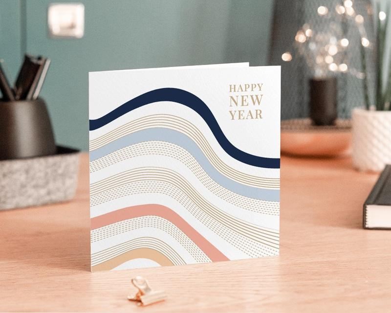 Carte de Voeux Entreprise La Vague, Lignes & dorure gratuit