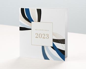 Carte de Voeux Professionnelle Infini stylisé, Rubans Bleus, Lignes Dorées
