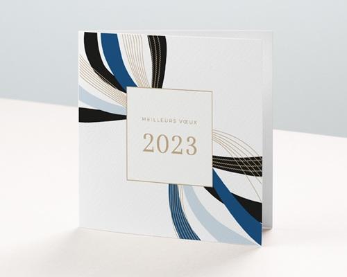 Carte de Voeux Entreprise Infini stylisé, Rubans Bleus, Lignes Dorées