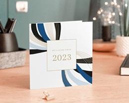 Carte de Voeux Entreprise Infini stylisé, Rubans Bleus, Lignes Dorées gratuit