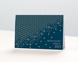 Carte de Voeux Entreprise Pavage étoilé, Fond Vert, Dorure