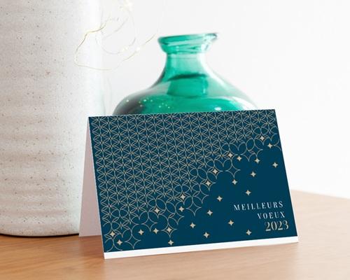 Carte de Voeux Entreprise Pavage étoilé, Fond Vert, Dorure gratuit